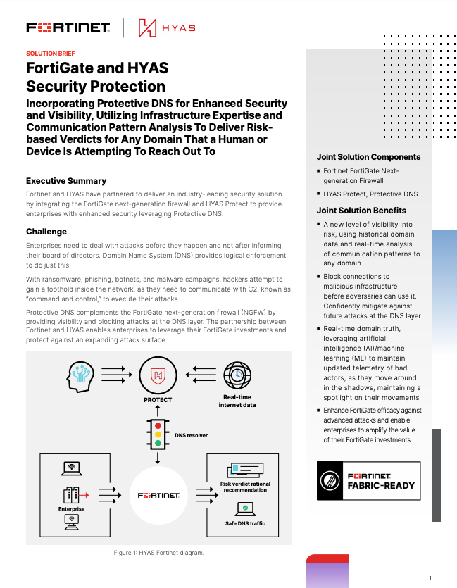 HYAS Fortinet FortiGate Solution Brief